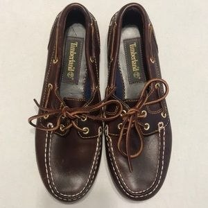 Maroon Timberland Deck Shoes
